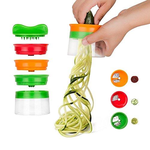 kiss me Spiralschneider, 3-Klingen Gemüse Spiralschneider mit dem man endlos Spaghetti Nudeln fertigen kann, Gemüseschneider und Zerkleinerer
