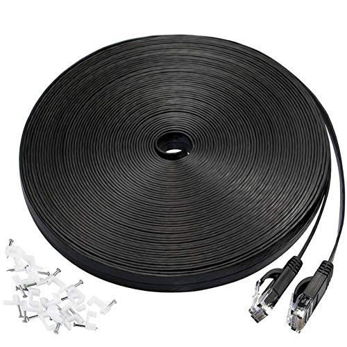 Cat 6 Ethernet Cable 50 ft,High Speed Solid Internet Network Cable with Clips,Flat Wire LAN Rj45 Cable Faster Than Cat5e,Cat5 with Snagless Connectors for PS4,Switch Boxes,Modem,Router,Black