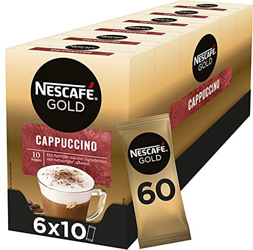 Nescafé Gold Cappuccino oploskoffie – 6 doosjes à 10 zakjes