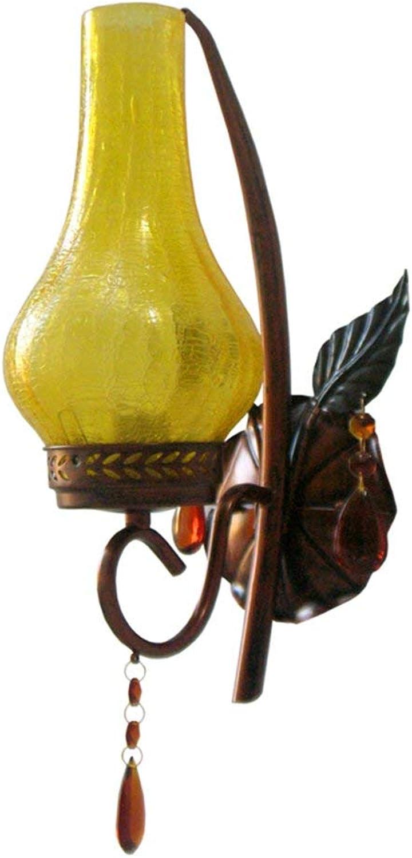 SCJ Vintage Glas Wandleuchte, Kreative Freizeit Dekoration Wandleuchte Gang Korridor Wandleuchte Einzelkopf E27 Beleuchtung Leuchten, 15  34,5 cm Wandleuchte (Gre  15  34,5 cm)