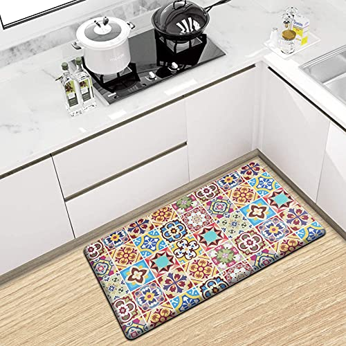 Kitchen Rugs, Anti Fatigue Comfort Floor Mat 17×30 in Thick Memory Foam Area Rugs for Kitchen Bathroom Home Office Desk Ergonomically Engineered PVC Rug Non-Slip (Red)
