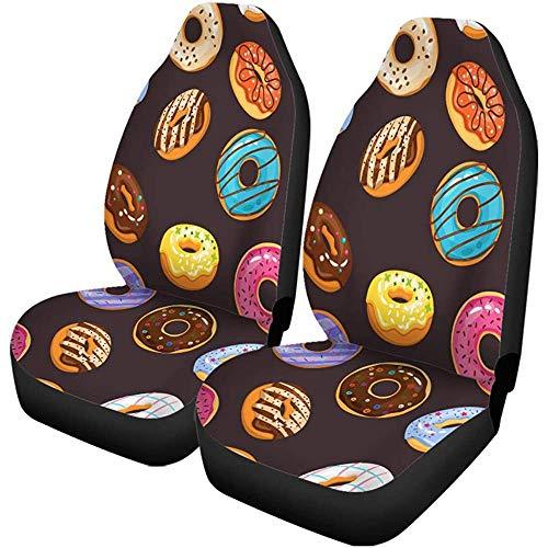 Autostoelhoezen patroon kleurrijk glazuur en strooien donuts chocolade verse Yummy Set van 2 beschermers