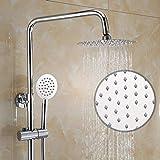 KEKEYANG baño Set de ducha de latón grifo de la ducha de la ducha termostática de 10 pulgadas Round Top aerosol de la ducha Sistema de 3 modos de plata doble elevación del agua de alimentación Ducha S