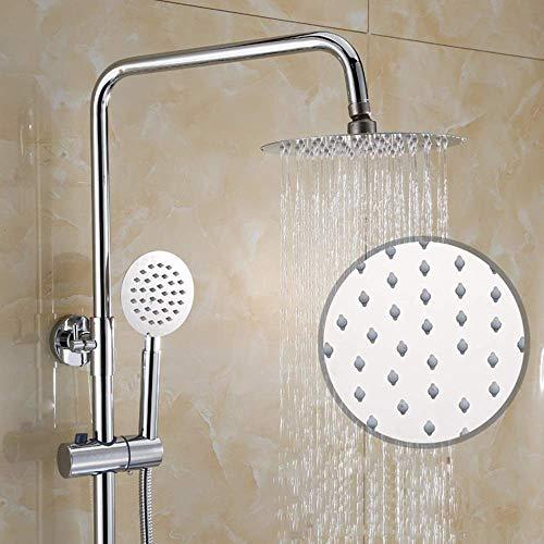 Temperatura constante de Yhtech De la ducha termostática de latón grifo de la ducha de 10 pulgadas Round Top aerosol de la ducha Sistema de 3 modos de plata de doble elevación Hermosa práctica Juego d