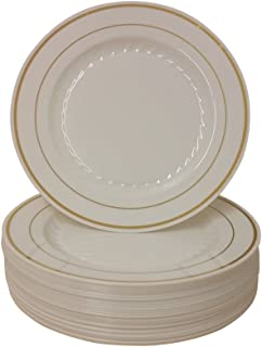 9 Inch Plastic Plates Trimmed With Gold High Quality. Pack Of 80 Elegant Disposable Dinnerware