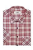 CDM - Herren Karo Kurzarm Hemd mit Kent Kragen (20417240), Farbe:Rot(100), Kragenweite:49/50