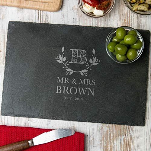 Personalisiertes Schneidebrett für Paare - graviert Initiale und Familienname - Geschenk Hochzeit Hochzeitstag - Holz oder Schiefer - rund oder rechteckig