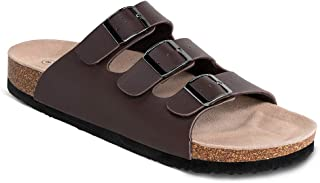 Men's Cork Slide Sandals,3-Strap Adjustable Buckle, Casual Slippers, Slip-on Cork Footbed Shoes