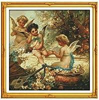 クロスステッチキャンバス初心者刺繍キットかわいい小さな天使40x50cmDIY刺繍を刻印するためのスターターキット大人と子供のための創造的な贈り物11CT