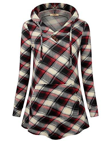 Timeson Sweatshirts for Women, Women's Christmas Sweater Long Sleeve V Neck Casual Kangaroo Pocket Hoodie Sweatshirt Red Beige Large