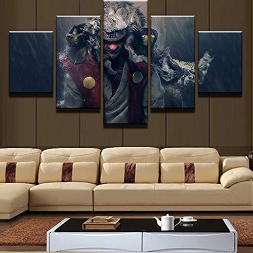 Jqchw 5 Stück Wall Art Naruto Anime Thema 5 Tafelmalerei Druck Ero-Sennin Auf Leinwand Paintings Das Evoke die Erinnerungen an Anime Fans HD Leinwand Plakat EIN Geschenk for Anime Fans