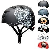 SkullCap Skateboard & BMX Casque de vélo pour Enfants et Adultes, Design: Skull, Taille: M