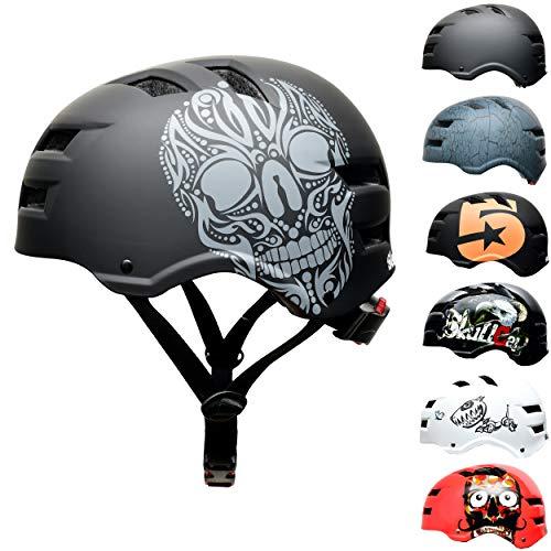 SkullCap BMX & Casco per Skater Casco - Bicicletta & Monopattino Elettrico, Design: Skull, Taglia: S (53-55 cm)