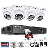 ANNKE Überwachungskamera Set Überwachungssystem 8CH 3MP DVR Recorder mit 4 x 1080P Dome Videoüberwachung Kameras und 1TB Festplatte Nachtsicht für Innen und außen