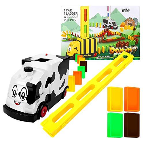 YogoDago200 Pcs Domino Zug Spielzeug Set, Automatischer Domino Legezug, Spielzeug Geschenk für Mädchen Jungen Ab 3 Jahren A