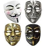 Dhelix 4packs V for Vendetta Guy Mask Halloween Costume Cosplay Masquerade Prop Bar Party Masks Unisex(White Black Silver Golden)