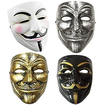 Dhelix 4packs V for Vendetta Guy Mask Halloween Costume Cosplay Masquerade Prop Bar Party Masks Unisex White Black Silver Golden