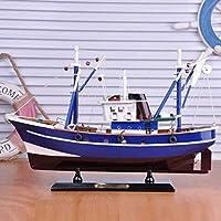 モデル船のリビングルームの装飾ヨットモデルDiy木製モデル船釣り用ブルーホームデコレーションモデルギフトお土産45cm装飾用