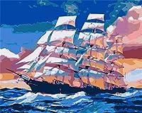 Diy 数字油絵 キャンバスの油絵,Oilペイントペイント,大人の子供のためのギフト 数字キットでペイント ホームデコレーション.数字油絵 数字キット塗り絵 手塗り , 遠くへの航海,Sin Marco, 40 X 50 Cm