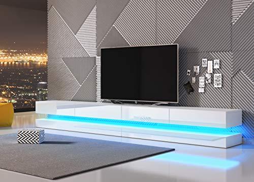 3xeLiving Innovadora y Moderna Mesa de TV Sajna con iluminación LED, 280cm, Blanco / Blanco Brillo