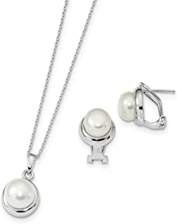Sterling Silver Rh 8-10mm White Freshwater Cultured Pearl Earrings Necklace Set