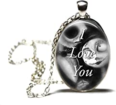 Jack and Sally love you Pendant, oval Necklace Glass,women,silver,jewelry,gift