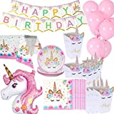 uego decoraciones cumpleaños con diseño unicornio papel, 1 mantel, 16 cajas de palomitas, 16 platos, 16 servilletas, 1 pancarta de cumpleaños grande, 1 unicornio de gran tamaño, 10 globos rosados