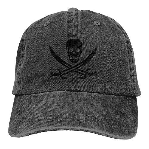 REAL PEAZ Gorra de béisbol de algodón lavado, color sólido, ajustable, diseño de calavera pirata feliz y espadas