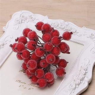 HUANGMENG Fleurs séchées 80PCS 12mm Simulation Berry Gel Rouge Petits Fruits en Mousse Berry DIY Accessoires Florale Matér...