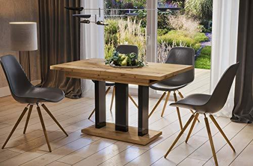 Esstisch Appia 130/170x80cm ausziehbar erweiterbar Auszugstisch Säulentisch 130cm (Artisan Eiche)