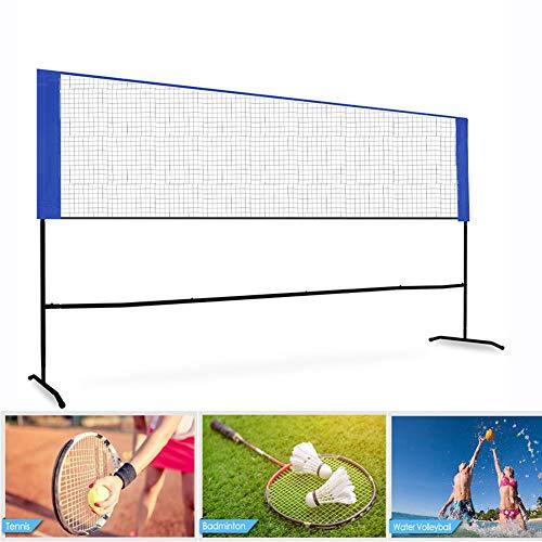 Netzgarnitur Kombi,Tragbares Badminton-Netz, Volleyball-Netz Tennis-Netz Einfach Zusammenklappbares Badminton-Netz-Rack Tragetasche, Indoor-Outdoor-Platz, Strandsport,5 m