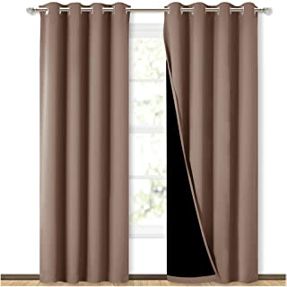 Best NICETOWN 100% Blackout Curtains Thermal, Noise Reduction and Privacy Curtains for Patio Door, Black Lined Blackout Drapes with Grommet Top, Cappuccino, 1 Pair, W52 x L84 Reviews