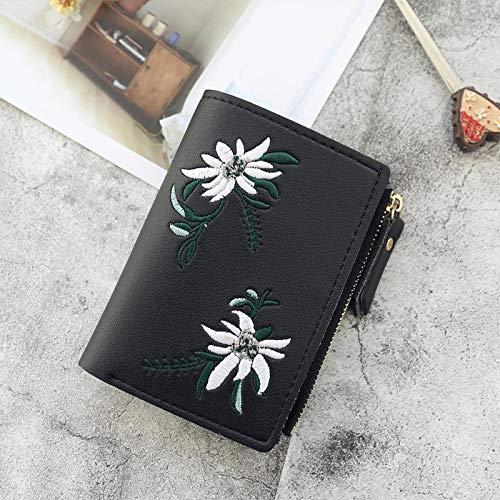 yqs Señoras monedero de las mujeres carteras impresión flor corto cartera para mujer cremallera mini monedero señoras pequeña cartera mujer cuero titular de la tarjeta negro