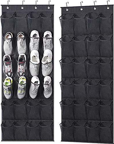 HSF 2 Paquete sobre el estante de la zapata de la puerta con 24 bolsillos de malla grande, organizador de la zapata de la puerta colgando para bolsas de almacenamiento del soporte del zapato del armar