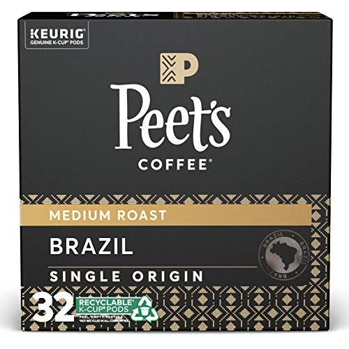 Peet's Coffee Single Origin Brazil, Medium Roast, 32 Count Single Serve K-Cup Coffee Pods for Keurig Coffee Maker, Brazil Minas Naturais, 32 Count (1 Pack of 32 Cups)
