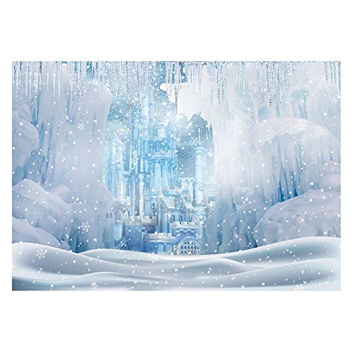 Funnytree Winter Wonderland Ice Castle Photography Backdrop White Snow Frozen Landscape Background Fairytale Princess Girl Baby Shower Kids Birthday Portrait Party Photo Studio Props Banner 7x5ft