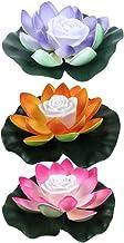 SOLUSTRE 3Pcs Floating Lotus Lantern Wishing Light Water Lantern Lotus Flower LED Night Light for Pool Pond Garden