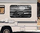 3D Autoaufkleber Boot Küste Sonnenuntergang Meer schwarz weiß Wohnmobil Auto KFZ Fenster Sticker Aufkleber 21A851, Größe 3D sticker:ca. 120cmx73cm