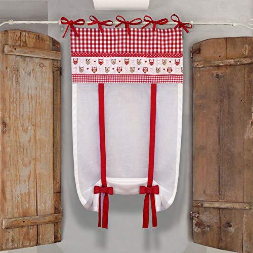 GLShabby Vorhang Gardine Raffrollo Raffgardine Kariert, Eulen, Raffrollo Baumwolle Landhausstil Country Chic - Kariert/Eulen - 60x150 - Weiß/Rot