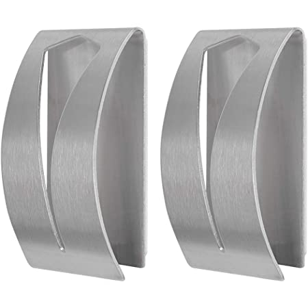 FOCCTS 2Pcs Tea Towel Holders Self Adhesive Towel Holders Brushed Stainless Steel Hand Towel Hook Rack Hangers Rustproof