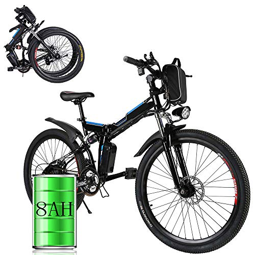 Bunao 26 inch Wheel Electric Bike Aluminum Alloy Frame 36V 8AH Lithium Battery Mountain Bike Cycling Bicycle, 7-gear Transmission (26 inch_2)