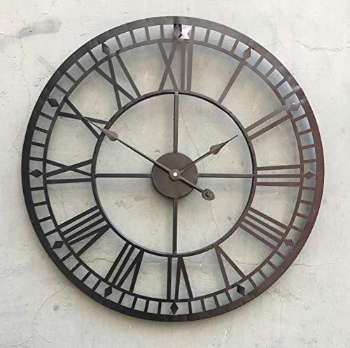 SHANGXIAN Metal Vintage Reloj De Pared Retro DecoracióN De Pared De Arte Hecho A Mano Estilo RúStico Silencioso Sin tictac Reloj para La Sala del Restaurante del Hotel,Brown,23.9in/60cm