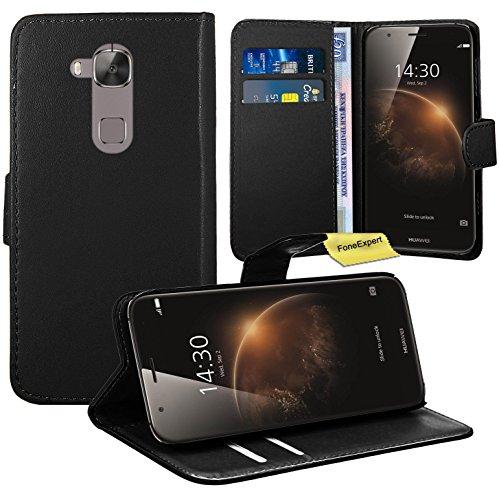 FoneExpert® Huawei Ascend G8 Handy Tasche, Wallet Hülle Flip Cover Hüllen Etui Ledertasche Lederhülle Premium Schutzhülle für Huawei Ascend G8 (Schwarz)