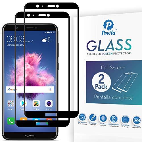 Pevita Protector de Pantalla Huawei P Smart (2018) [2 Packs] Full Screen. Sin Burbujas, Fácil Instalación. Protector de Pantalla de Cristal Templado Premium para Huawei P Smart (2018)