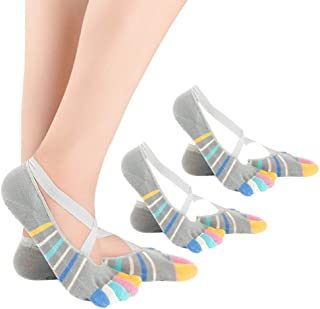 KINDOYO Grip Socks - Non Slip Socks Cotton Elastic Breathable Shrink Resistant Five Finger Toe Socks for Women