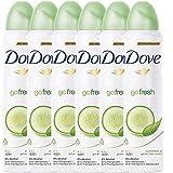 Dove Antiperspirant 48 Hours Body Spray, Go Fresh Cucumber & Green Tea Deodorant, 6 Packs x 150 ML / 5 Fl.Oz (International Version)