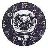 Chic Houses Reloj de Pared con diseño de Gato y Perro en Color Blanco y Negro, 20,3 cm, Redondo, silencioso, para decoración del hogar, Oficina, Escuela 2031551