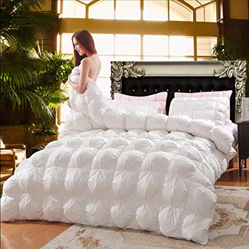 LanPerro 95% White Goose Down Quilt, Luxurious All Seasons Down Comforter, 100% Cotton Shell, Fluffy Medium Warmth, Solid Color,White,220x240cm 4KG