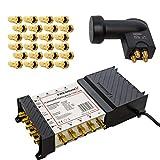 PremiumX Multischalter Set PXMS 5/8 Multiswitch mit Netzteil für 8 Teilnehmer mit Quattro LNB 3D 4K UHD 8K und 24 F-Stecker