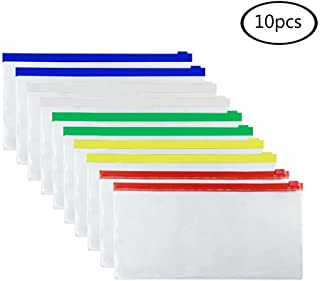 JPSOR 10pcs Poly Zip Envelope Files Bill Bags Pencil Pouches 5 Color Zippers, 9 Inches x 4.7 Inches
